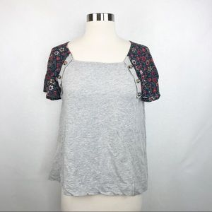 Anthro Postmark Gray Floral Flutter Sleeve Top S